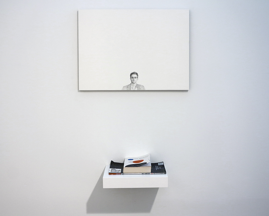 """Edward Snowden Graphite On Panel 16"""" X 22"""" 2015 Price On Request Note:  Snowden Is Aputer Professional, Former Cia Employee, And Former  Government"""